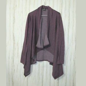 XL Bobeau Purple Soft Open Front Cardigan